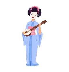 set of Japanese geisha girls vector image