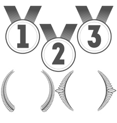 Set of medals and crowns vector image