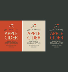 set of three labels for apple cider with apple vector image