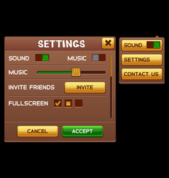Settings screen for slot game vector