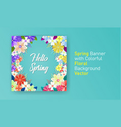 Spring banner with colorful floral background vector