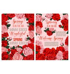 spring rose flower blossom festive poster design vector image