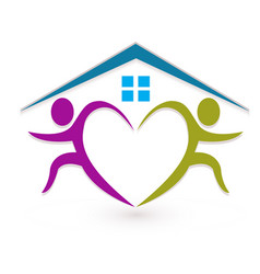 teamwork people real estate homes heart shape vector image