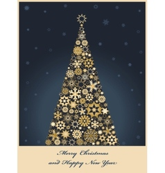 tree from golden snowflakes vector image
