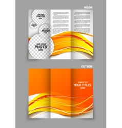Tri-fold brochure in orange color vector