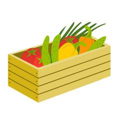 vegetables in wooden box harvest in case vector image