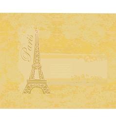 Vintage retro eiffel tower in paris card vector