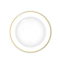 white plate with gold border isolated object on vector image