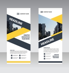 Yellow Roll Up Banner flat design template set vector