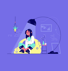 young relaxing woman character under lamp in vector image