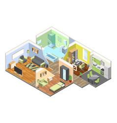 3d interior of modern house with kitchen living vector image