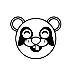 face panda animal outline vector image