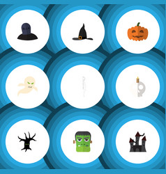 Flat icon celebrate set of witch cap tomb vector