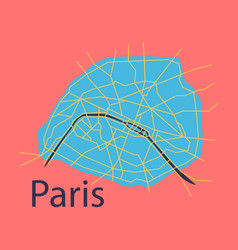 Flat urban city map of paris france vector