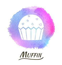 Food Dessert Muffin Watercolor Concept vector image