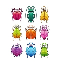 Funny cartoon fantasy bugs set vector image vector image