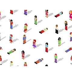 Isometric pixel people seamless pattern vector image