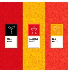 Line Barbecue Patterns Set vector image vector image