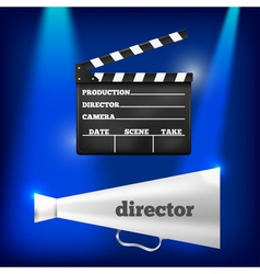 Metal megaphone and movie clapper vector image vector image