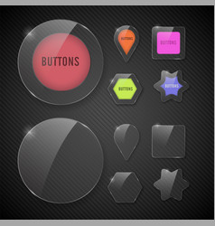 set buttons web glass colorful v2 vector image