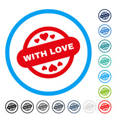 with love stamp seal rounded icon vector image vector image