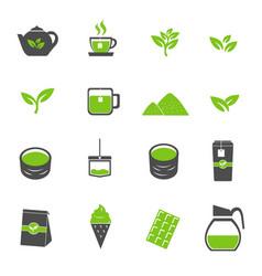 green tea icons set vector image