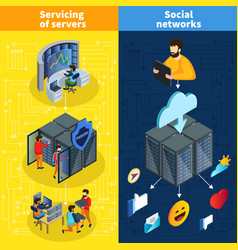 isometric data center vertical banners vector image vector image