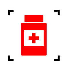 medical container sign red icon inside vector image