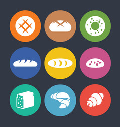 set of colourful icons with baked goods isolated vector image vector image