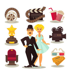 cinema template set of symbols on white vector image vector image