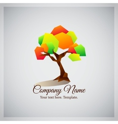Company business logo with geometric colorful tree vector image vector image