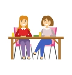 Girlfriends sitting at the table smiling person vector