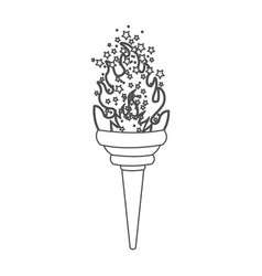 grayscale contour with olympic torch flame with vector image
