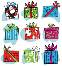 fun and funky retro christmas gifts vector image