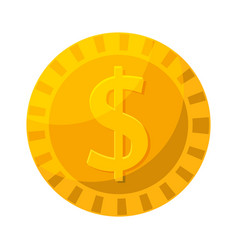 gold coin in cartoon style vector image