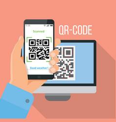 mobile app for scanning qr-code vector image vector image