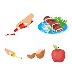 Shish kebab with vegetables ketchup and mustard vector