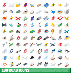 100 road icons set isometric 3d style vector image