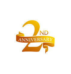 2 year ribbon anniversary vector