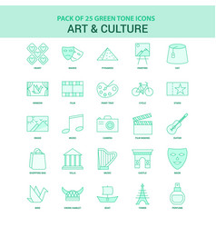 25 green art and culture icon set vector