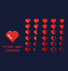 8 bit pixel art gui game design element - heart vector