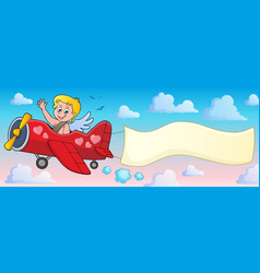 airplane with cupid theme image 2 vector image