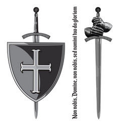 Armour gloves of the knight shield and the sword vector
