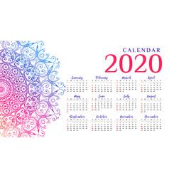 Attractive mandala style calendar design for new vector