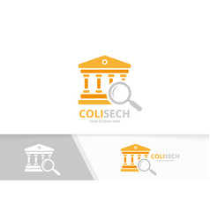 Bank and loupe logo combination column and vector
