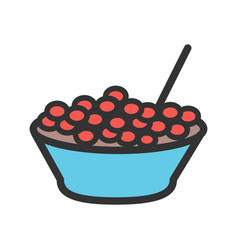 Bowl of cranberries vector