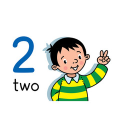 Boy showing two hand counting education card 2 vector