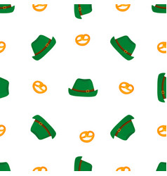 Bretzel and traditional german green vintage hat vector