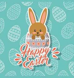 brown bunny in broken egg happy easter vector image