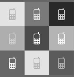 Cell phone sign grayscale version of vector